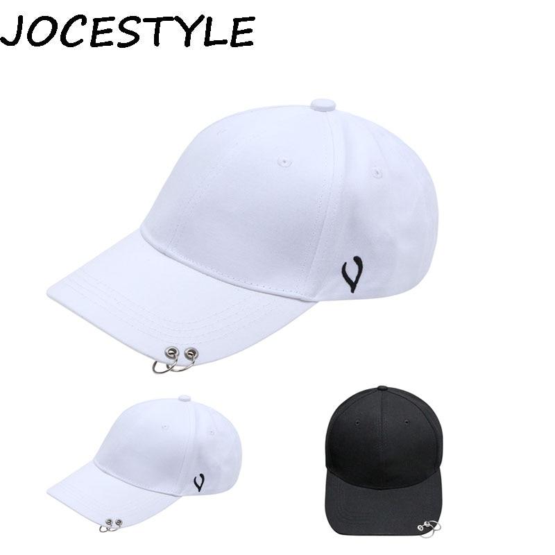 Korean Style   Cap   White Hoop   Cap   Ring Pierced Curved Eaves   Baseball     Cap   Snapback Hat Hip-Hop Hat Female Spring Summer Sun   Cap