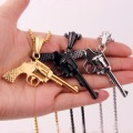 New Fashion Jewelry Silver Gold Black Revolver Pistol Pendant Hip Hop Style Necklaces Beaded Chain Men's Jewelry Gift