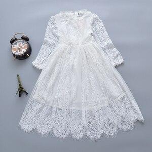 Кружевное платье для девочек, белое платье принцессы с длинными рукавами, платье для маленьких девочек, одежда для маленьких девочек, детск...