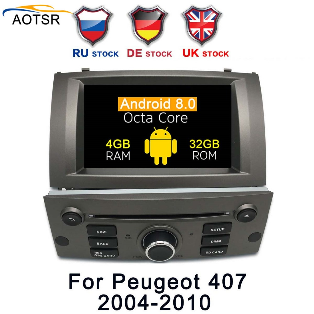 7 Android 9 0 Car DVD multimedia Player head unit For Peugeot 407 2004 2005 2006