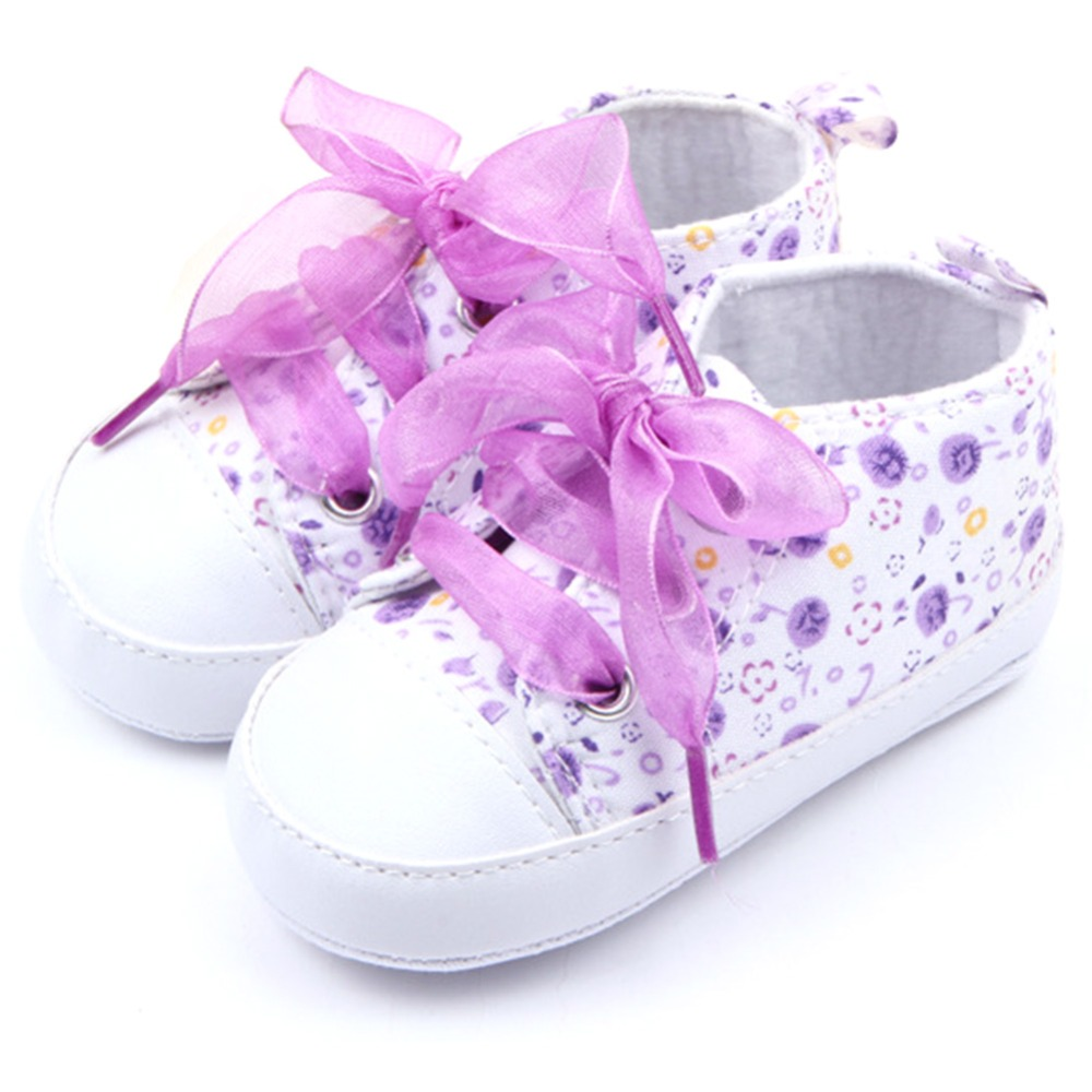 0-12 M Newborn  Toddler Baby Girls Crib Shoes Soft Sole Anti-slip Floral Bowknot Walk Sneaker First Walkers