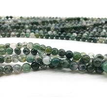 Natural Beads Stone Green Aquatic Agates for Jewelry Making 4 6 8 10 12mm Loose Necklace DIY Bracelet Findings