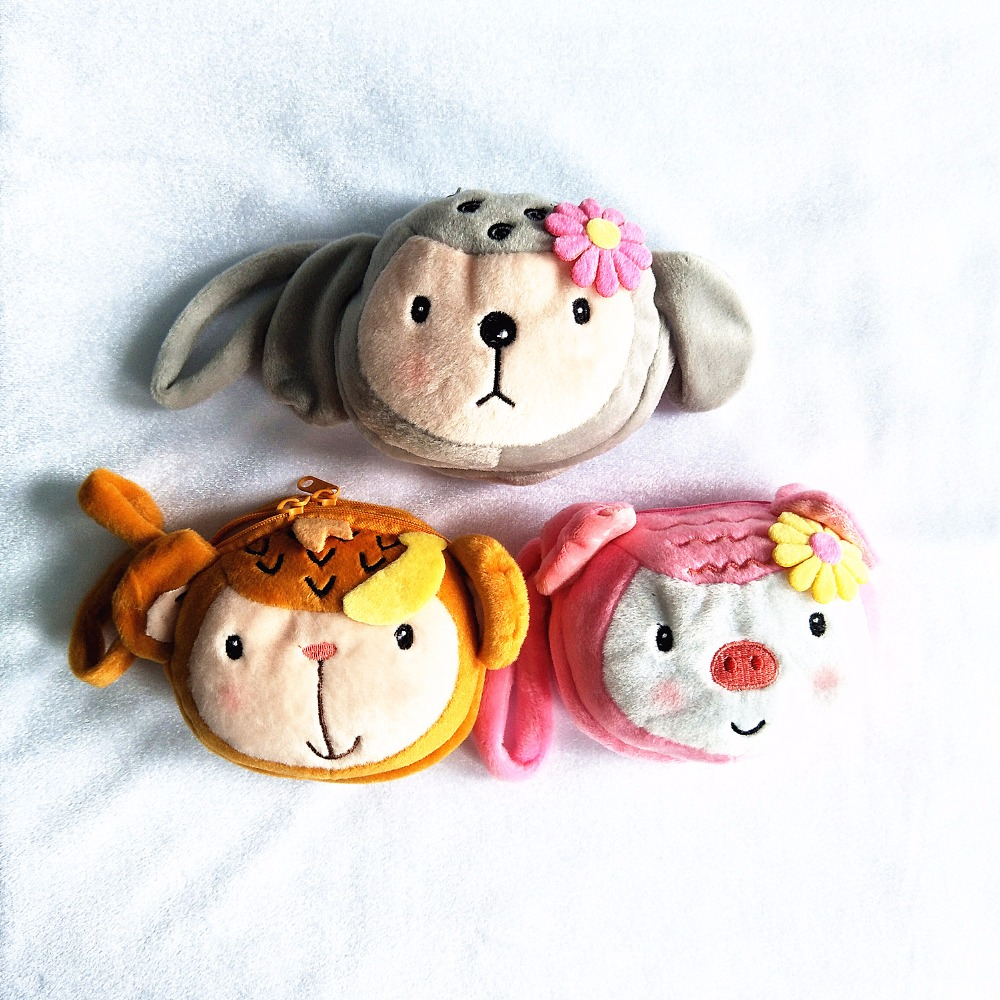 M Super Cute Cartoon Monkey Pig Plush Double Coin Purse Wallet Card Bag Girl Women Student Gift Wholesale