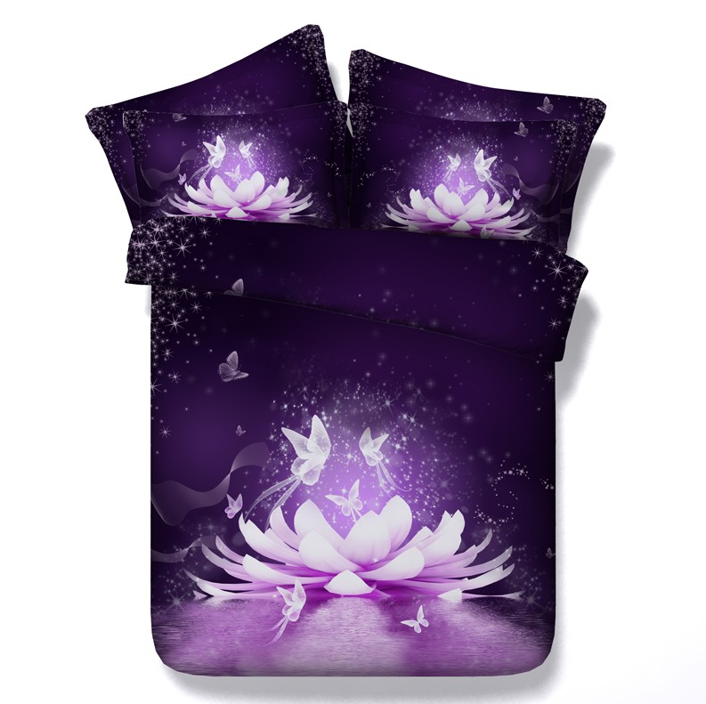 3D Floral Purple Comforter sets Bedding duvet cover bed in a bag spread qulit doona Super King queen size full twin double 5PCS