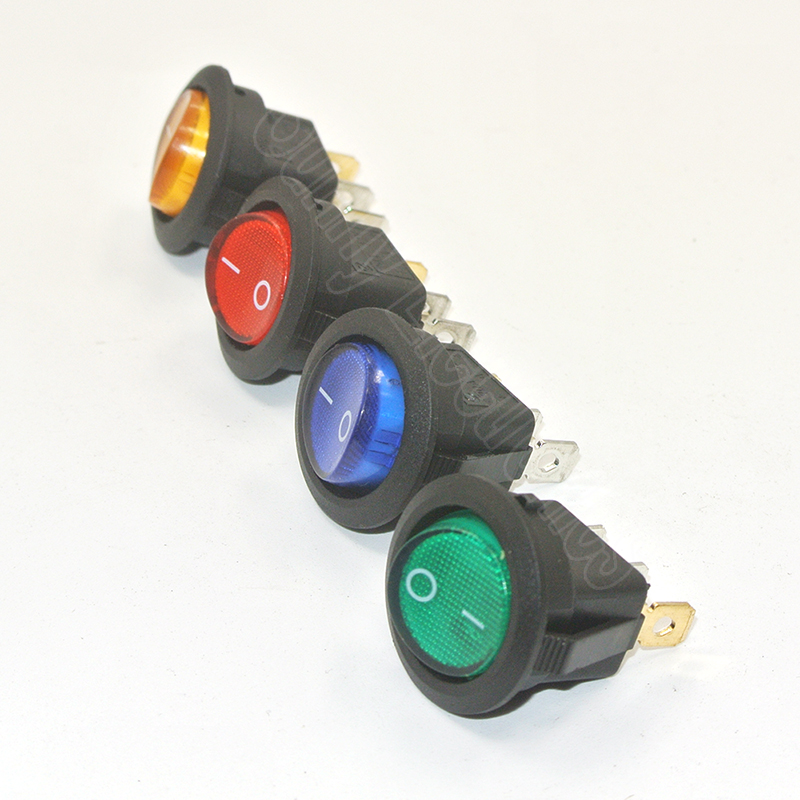 2//4Pcs Car Auto Boat 12V Round Dot Rocker LED Light Toggle Switches SPST ON  PA