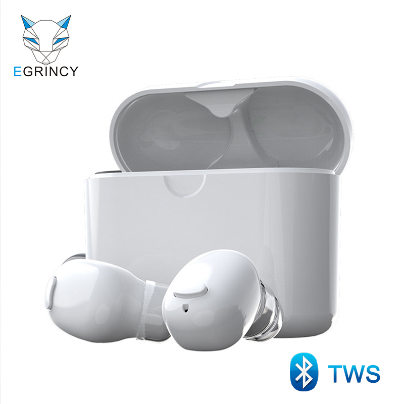 EGRINCY 570 TWS Bluetooth 5.0 Earphone Mini True Wireless Stereo Headsets Handsfree Car Wireless Earbuds Charging Box With MIC tws 5 0 bluetooth earphone touch control stereo music in ear type ipx6 waterproof wireless earbuds with charging box yz209