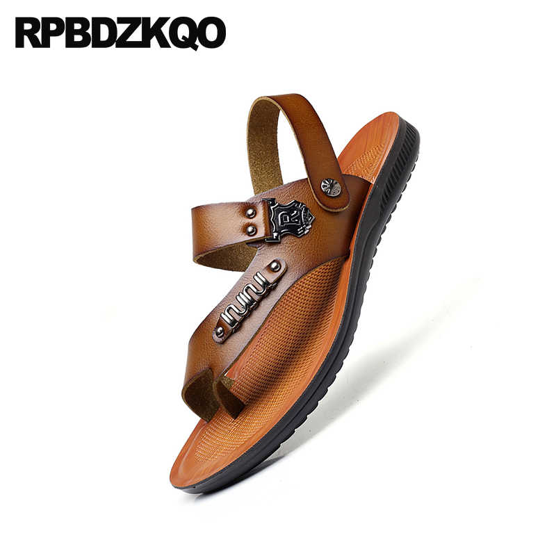 732cf473b11e6 ... Flat Runway Men Sandals Leather Summer Outdoor Shoes Breathable Slides  Brown Italian Sport Toe Loop Sneakers