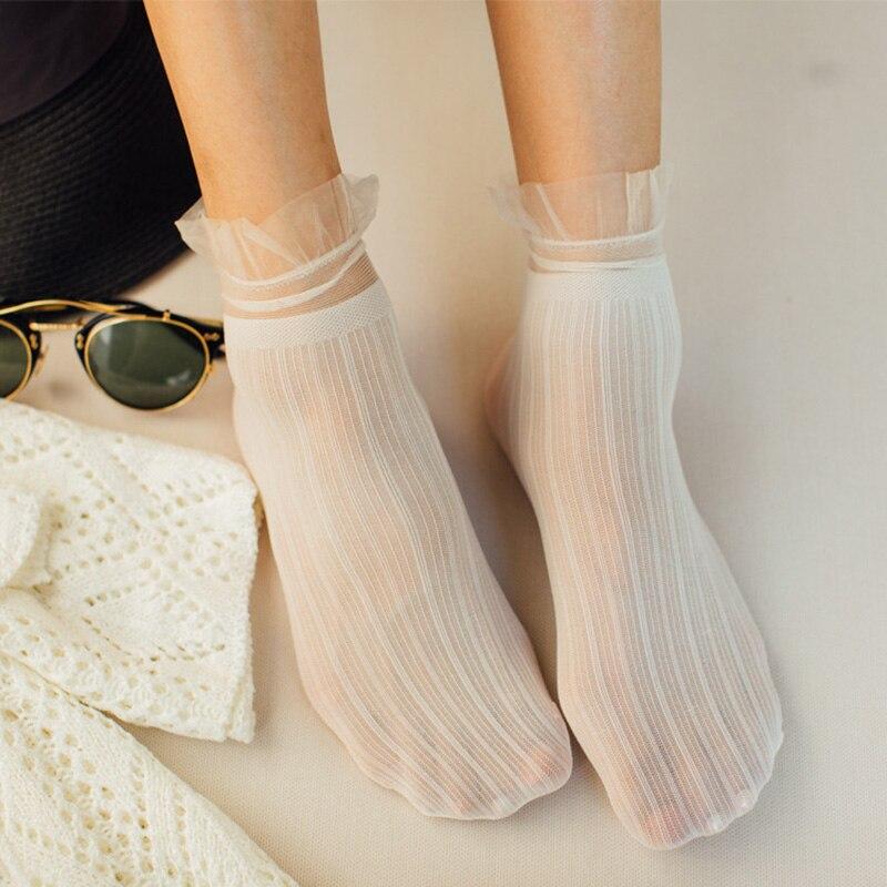 New Summer Velvet Striped Socks Transparent Lace Socks For Women Lady Sexy Ultra-thin Long Socks Ankle Female Dress Hosiery