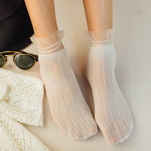 New Summer Velvet Striped Socks Transparent Lace For Women Lady Sexy Ultra-thin Long Ankle Female Dress Hosiery