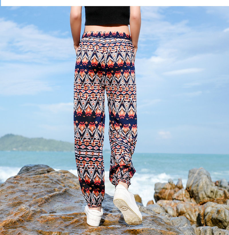 New women clothes 2019 Spring and summer new style Bohemian beach holiday trousers Floral  Seaside vacation trousers