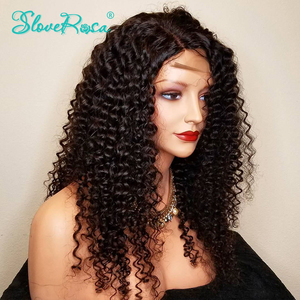 Image 2 - 13X4 Brazilian Kinky Curly 130% Density Lace Front Wigs For Black Women Remy Human Hair Pre Plucked Bleach Knots Slove Rosa
