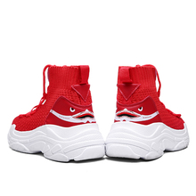 zeeohh Unisex High Top Sneakers Men Increase Knit Upper mesh Shoes Shark