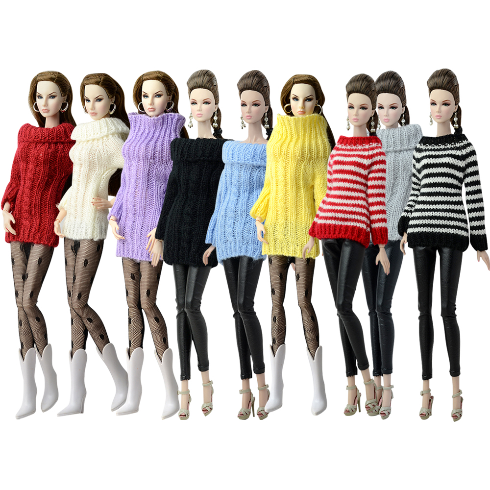 NK Fashion Doll Coat Pure Manual Clothes Knitted Handmade Sweater Tops Dress For Barbie Doll Gifts Girls' Doll Accessories JJ