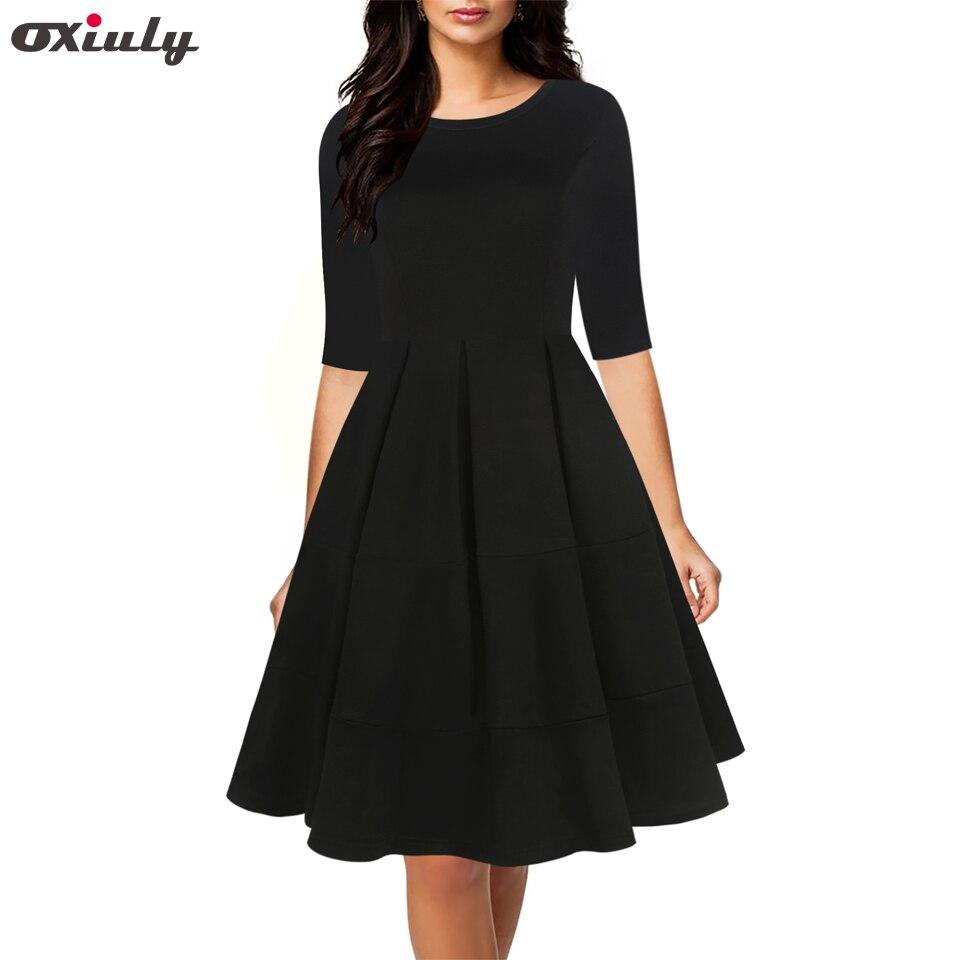 Oxiuly Autumn Patchwork A-Line Dress Chic Gorgeous Audrey Hepburn Ball Gown Half Sleeve Vintage Big Swing Black Vestido
