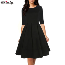 Oxiuly Autumn Patchwork A-Line Dress Chic Gorgeous Audrey Hepburn Ball Gown Half Sleeve Vintage Big Swing Black Vestido
