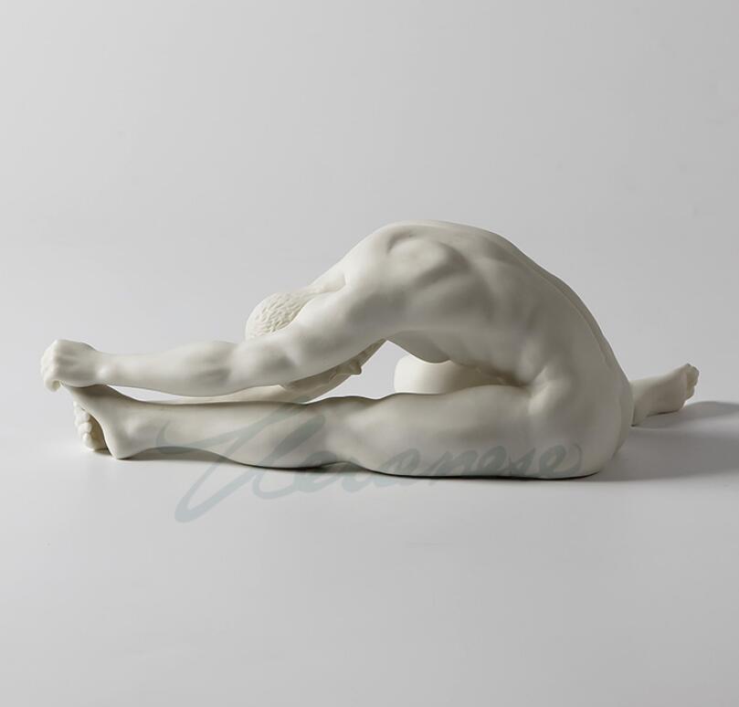 Modern Art Sculpture White Ceramic Hand Pull Left Foot Man Body Statue