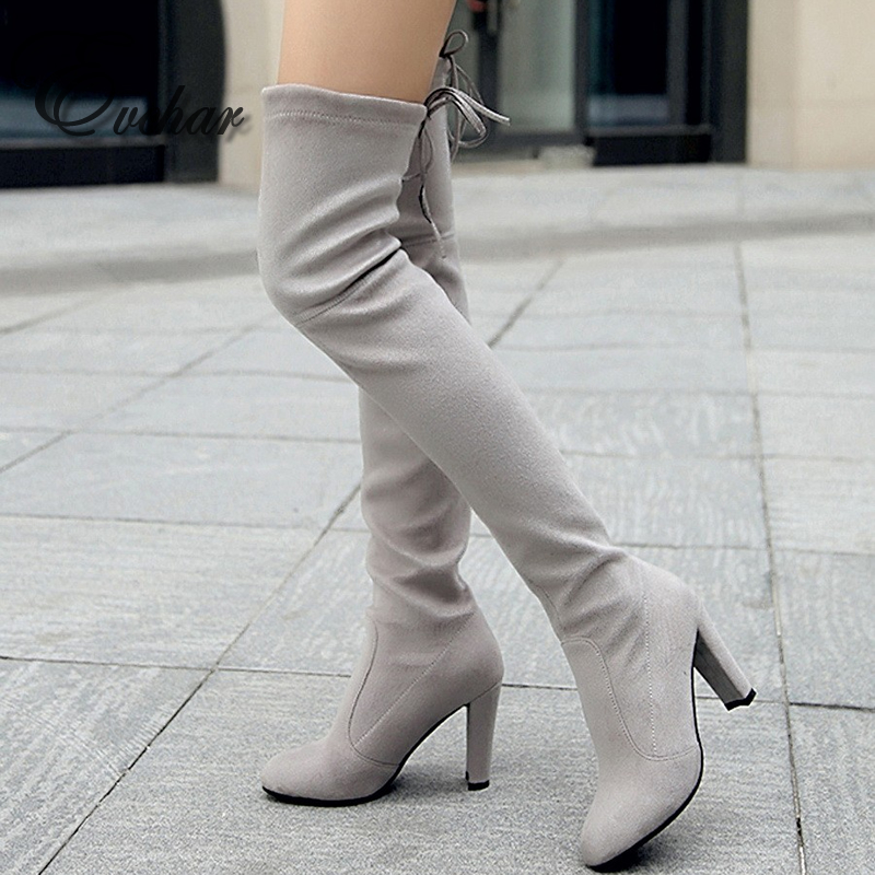 ФОТО New Women Suede Sexy Fashion Over the Knee Boots Sexy thick High Heel slip-on Boots lace-up Woman Shoes big size 34-43