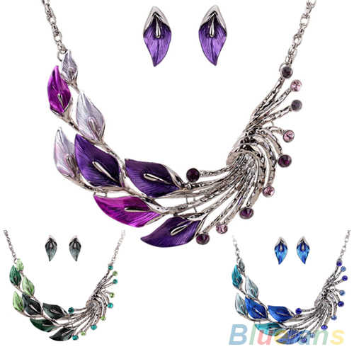Retro Tibetan Leaf Peacock Crystal Rhinestone Drop Earrings Short Necklace Set  08S4