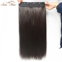 Suri Hair Straight Synthetic Clip On Hair Extension Women Hair Pieces 5 Clips 24inch 6 Colors