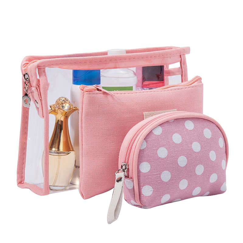 07607118d5ca 3 Pcs/Set Women Clear Cosmetic Bags PVC Travel Bath Toiletry Wash Organizer  Beauty Makeup Necessary Case Make Up Box Accessories