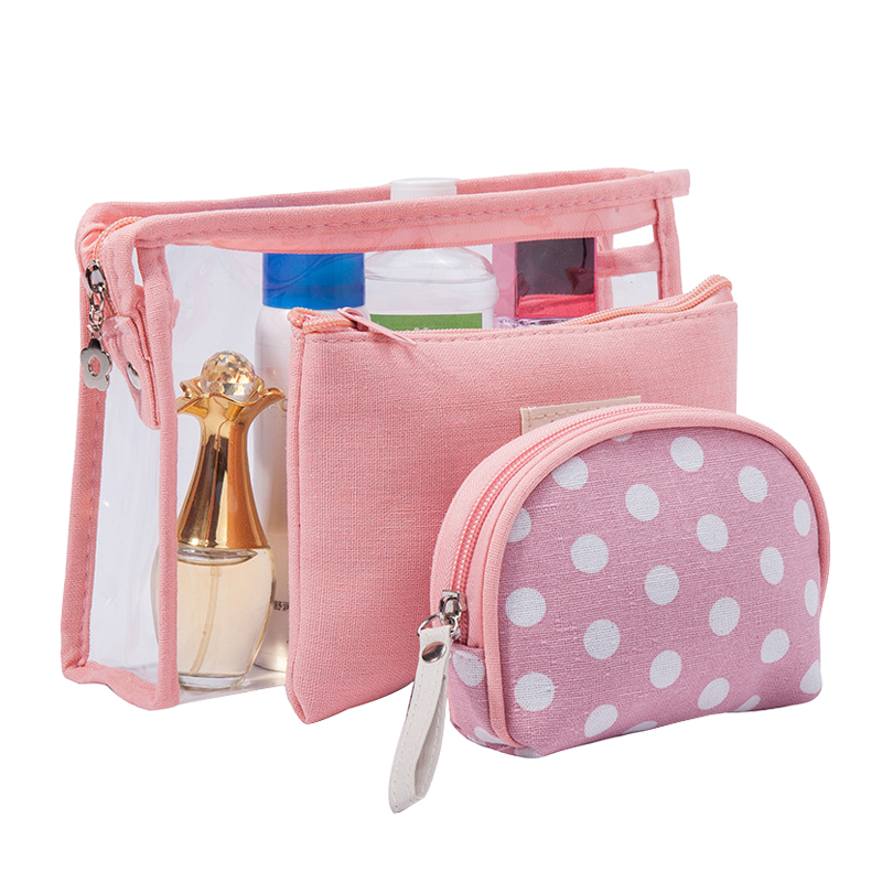 3 Pcs Set Women Clear Cosmetic Bags PVC Travel Bath Toiletry Wash Organizer  Beauty Makeup Necessary Case Make Up Box Accessories 586ad2e0cd636