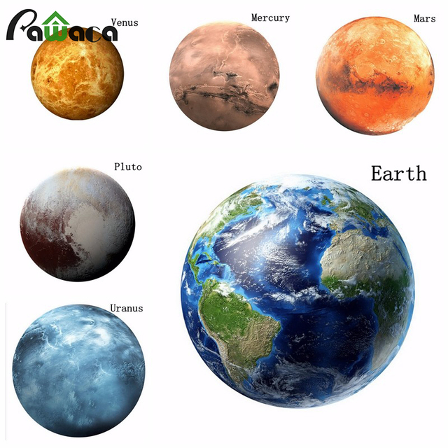 3D Planet Wall Sticker DIY Luminous Planet Decals Glow in the Dark ...