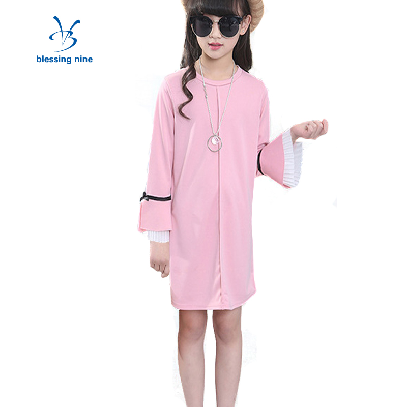 Princess Girls Dresses Autumn Outfits Pink Fashion Girl Dress Winter Long Sleeve Lovely O-neck Kids Clothing 4-10 Years Old  new summer girls dress o neck floral pattern mini lovely princess dresses girl party clothing