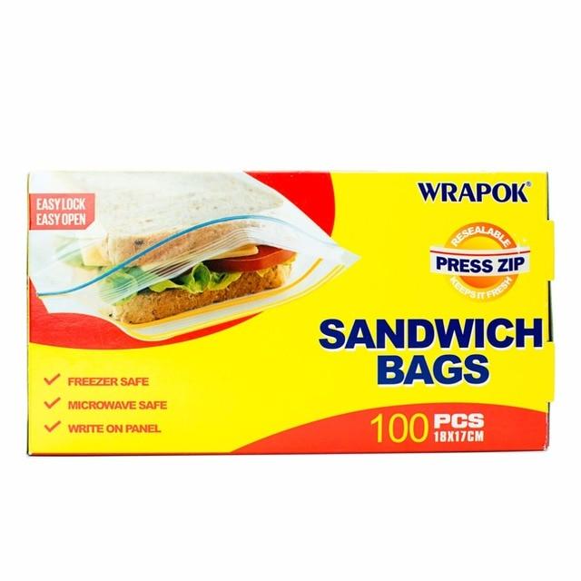 100pcs Pack Pe Food Zipper Freezer Bags Sealer Sandwich Ziplock Reclosable Storage Bag
