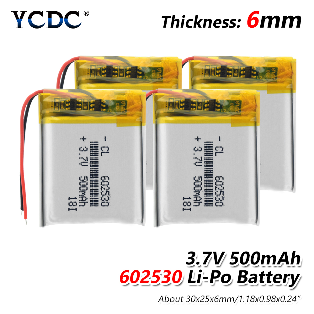Rechargeable 3.7V 500mAh 602530 Battery Li-Po Polymer Cells Lithium Li-ion Lipo Battery For MP3 MP4 Smart Watch Reading Pen