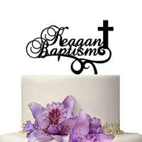 Zwyczaj Chrztu Dekoracji Ciasto Topper Personalizuj Nazwa z Krzyżem Pierwszej Komunii Wedding Cake Topper Cake Decoration