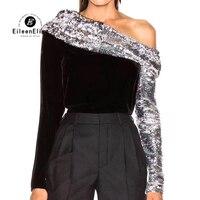 Для женщин рубашка Мода 2019 г. костюмы женский блёстки Черный Топы корректирующие с открытыми плечами длинным рукавом Дамы футболк