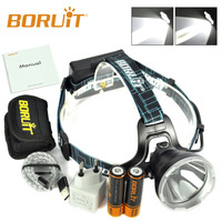 New BORUiT Rechargeable Headlamp Smart B10 XM L2 LED Headlamp Hunting Camping Fishing Head Torch light with Battery and Charger