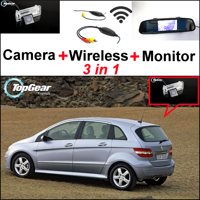 3in1 Special WiFi Camera + Wireless Receiver + Mirror Screen DIY Parking System For Mercedes Benz MB B150 B160 B170 B180 B200 special wifi camera wireless receiver mirror monitor backup parking system for mercedes benz glk class mb x204 2008 2015