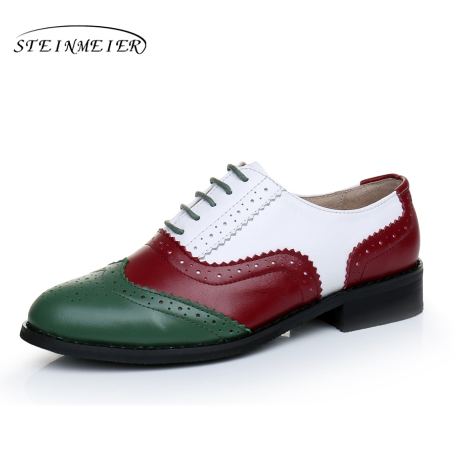 Image 4 - Genuine leather shoes women US size 11 handmade red blue white 2018 sping vintage flats British style oxford shoes for women fur-in Womens Flats from Shoes on AliExpress