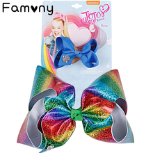 2Pcs/Set Princess Mermaid Hair Bows Rainbow Ribbon With Alligator Clips For Girls Kids Handmade Headdress Accessories