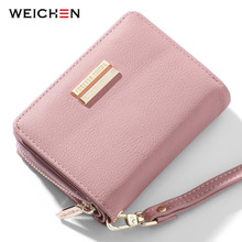 WEICHEN Brand Designer Small Wallets For Women Card Holder Zipper Coin Purses Ladies Short Clutch Bag Female Wallet High Quality genuine leather zipper wallet women high quality coin purse fashion female wallets card holder for ladies small purses bag lq016