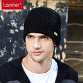 Lanmer invierno hizo punto el sombrero de lana de punto sombrero a prueba de viento masculino del casquillo de hiphop