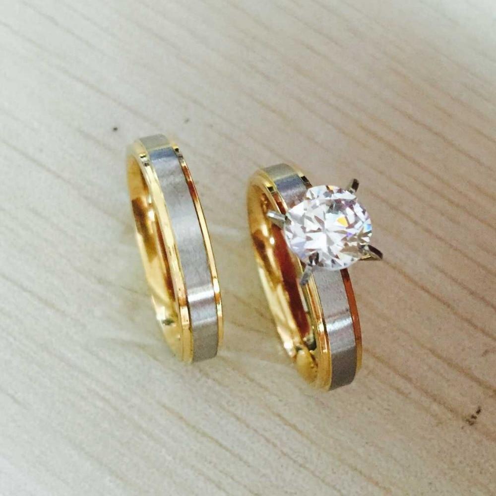 4mm Titanium Steel Cz Rhinestone Korean Couple Rings Set For Men Women  Engagement Lovers,his