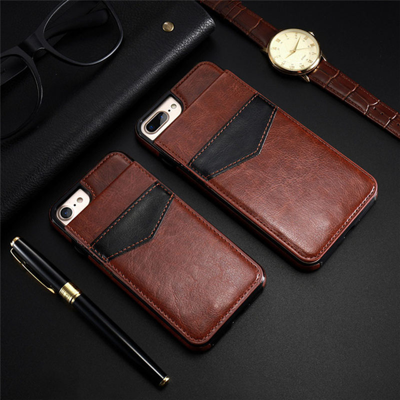 Hehan For iphone x/6 Retro PU Leather Back Cover Support Function Wallet Card with Buttons Mobile Shell