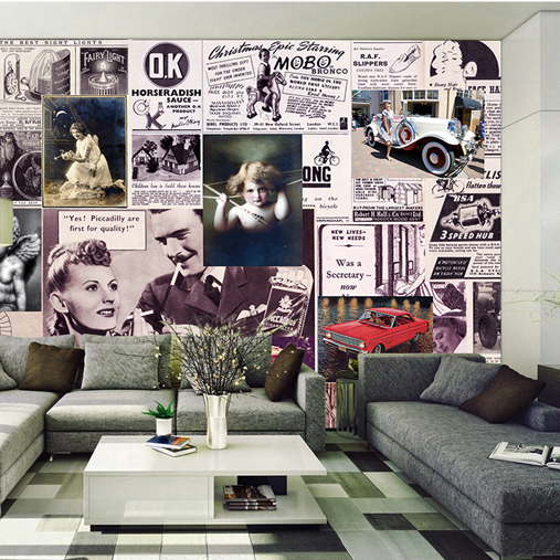 Free Shipping retro newpaper mural leisure bar KTV Cafe lounge tea house living room decoration European character wallpaper  free shipping cartoon pattern wallpaper leisure bar ktv lounge living room sofa children room background comics wallpaper mural