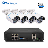 Techage 4CH 1080P HDMI NVR Kit POE CCTV System 720P 1.0MP IP Camera IR Night Vision Outdoor Security Surveillance Set 1TB HDD