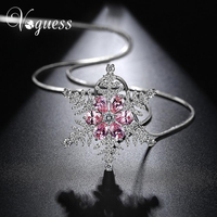 VOGUESS New Zircon Snowflake Long Necklace Sweater Chain Necklace Fashion Crystal Rhinestone Flower Pendant Necklaces