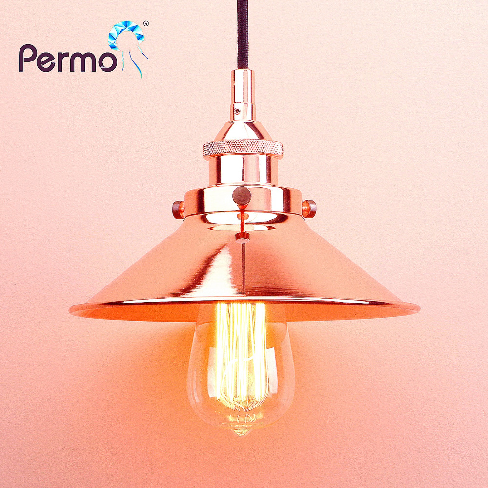 PERMO Industrial Copper Pendant Lights American Country Pendant Ceiling Lamps Modern Hanglamp Luminaire Lights Fixture