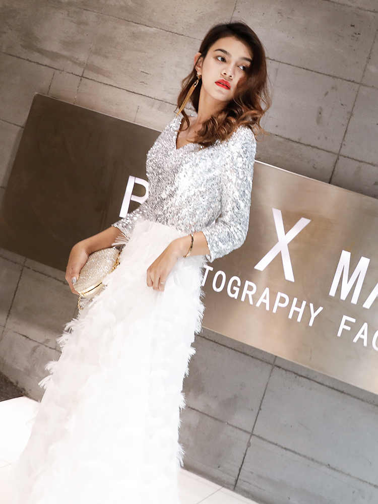 965a70ce060ce weiyin Robe De Soiree 2019 New Elegant A Line V Neck White Lace Long Formal  Evening Dresses Sequined Party Gowns WY1112