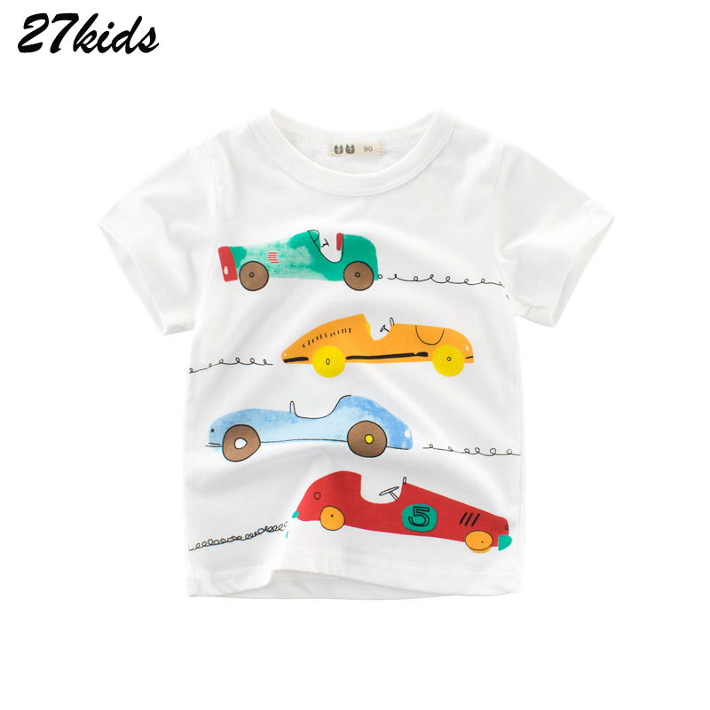 27kids Cartoon Cycle Racing Cars Baby Clothes Boy T Shirts For Children Summer Clothes For Infant Boys Short Sleeve T-Shirts