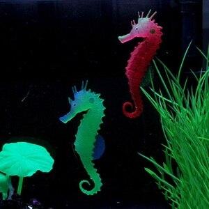 Image 3 - 실리콘 인공 빛나는 빛나는 효과 바다 말 물고기 탱크 시뮬레이션 해파리 해마 장식 장식 풍경