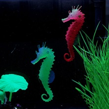 Fish tank decoration with luminous silicone sea horses