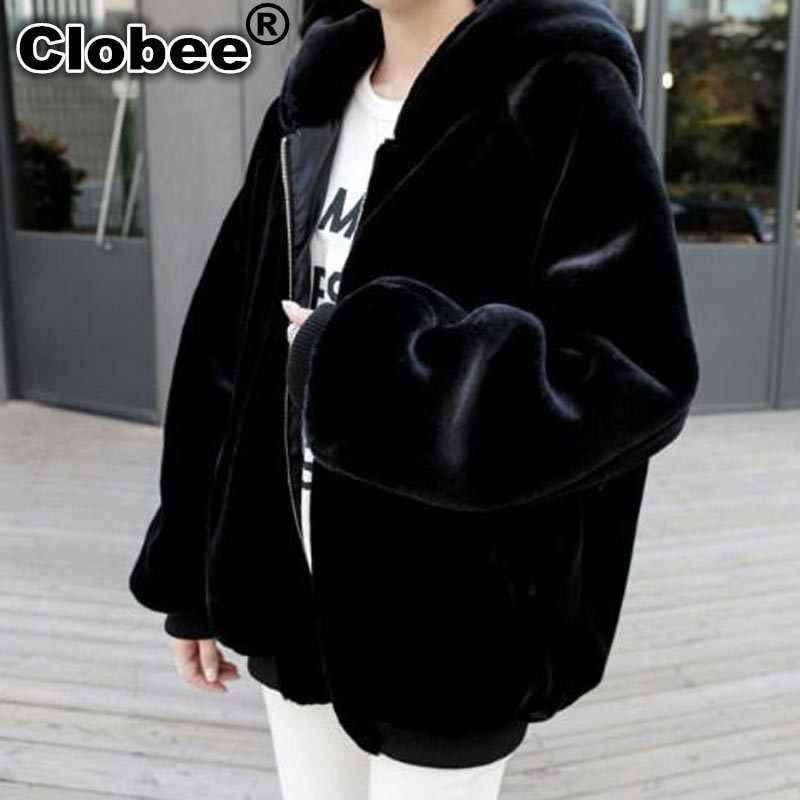 5XL 6XL 7XL Artı Boyutu Taklit Kürk Ceket Kadınlar için 2019 Kış sıcak Kalın Uzun Kapşonlu Faux Kürk Palto Siyah giyim WYKH8
