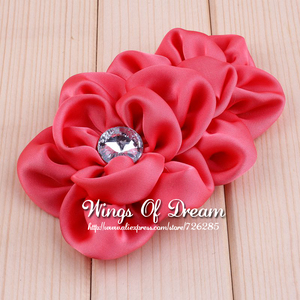 Image 4 - (120pcs/lot) 12 Colors Handmade Soft Lchthyosis Shape Fabric Headband Flower Artificial Wedding Decorative Flowers+Bling Buttons