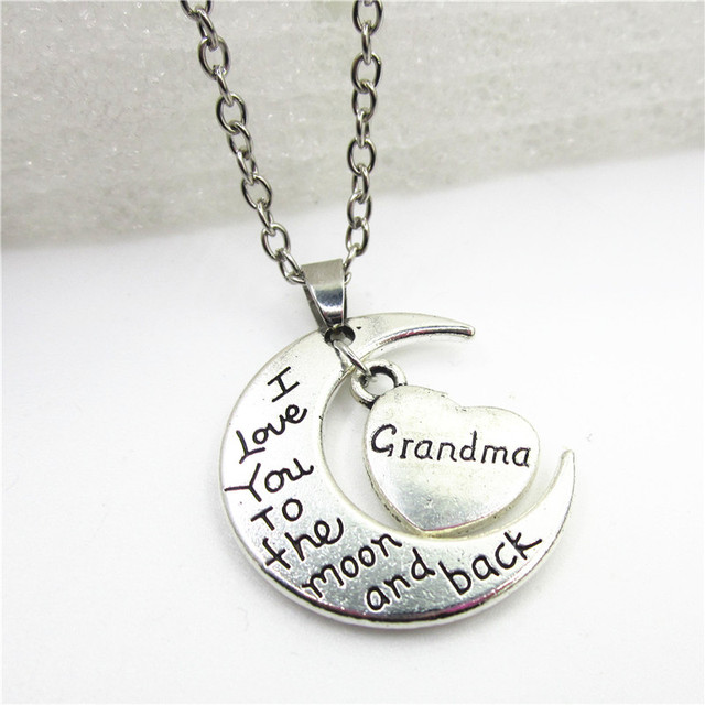 7ce8a4c9c Whoselase I Love You To The Moon And Back Grandma Necklace Jewelry with  50cm chains necklace DIY jewelry Fashion Necklace Family